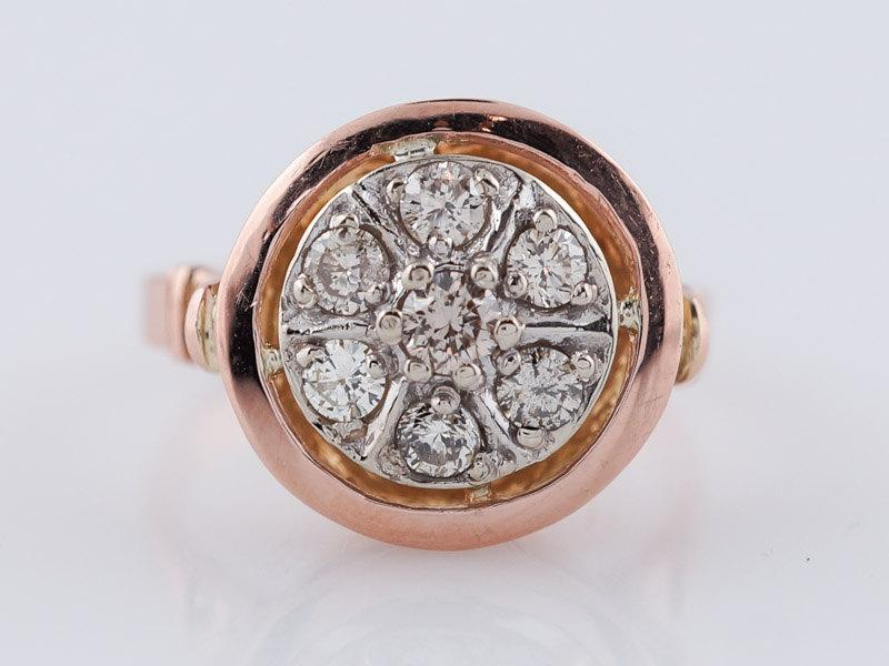 زفاف - Vintage Engagement Ring Mid-Century .35ct Round Brilliant Diamond in 14k Rose Gold