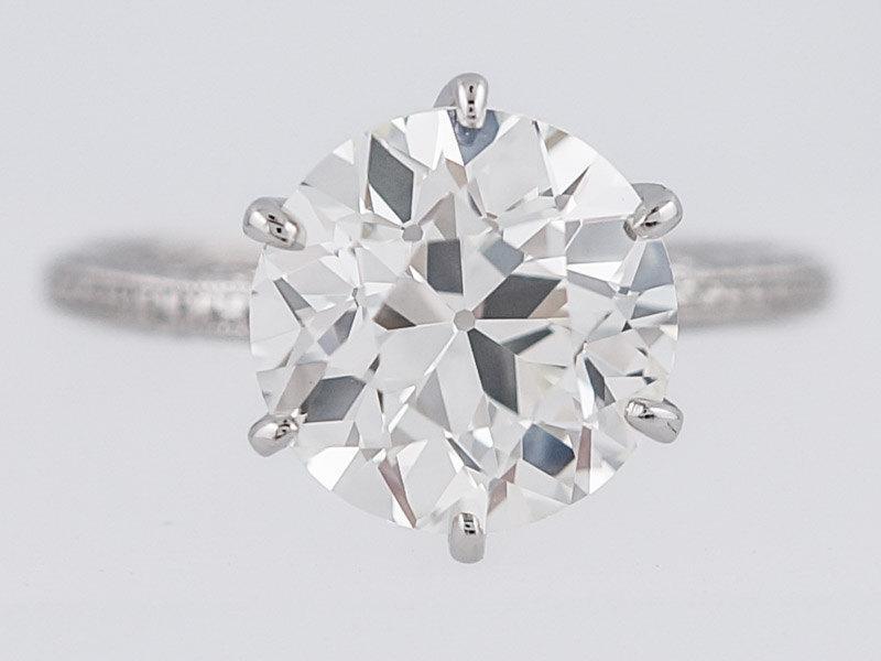 زفاف - Antique Engagement Ring Art Deco GIA 2.70ct Old European Cut Diamond in Vintage Platinum