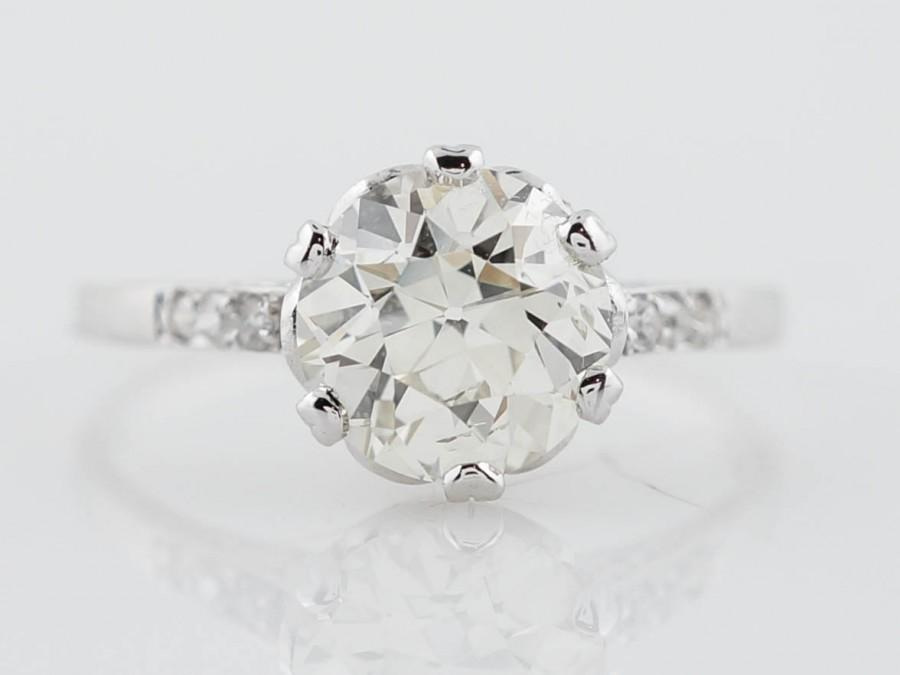 زفاف - Antique Engagement Ring Edwardian 1.77ct Old European Cut Diamond in Platinum