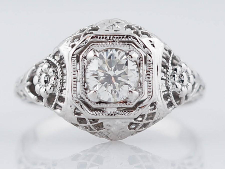 زفاف - Filigree Engagement Ring Antique Art Deco .50 ct Round Brilliant Diamond in 18k White Gold