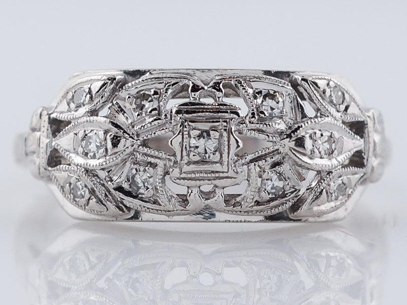 زفاف - Antique Engagement Ring Art Deco .17cttw Single Cut Diamonds in 14k White Gold