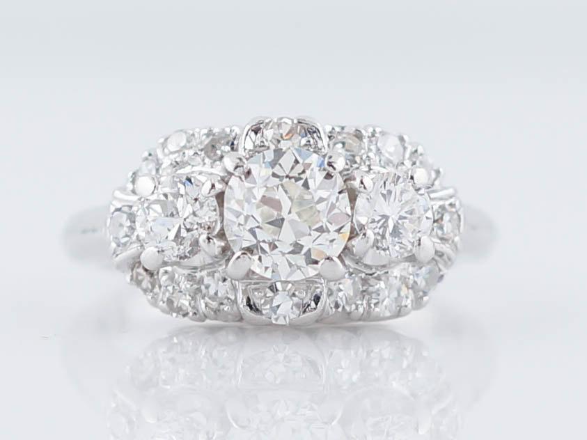 Mariage - Antique Engagement Ring Art Deco .60ct Old European Cut Three Stone Diamond in Platinum