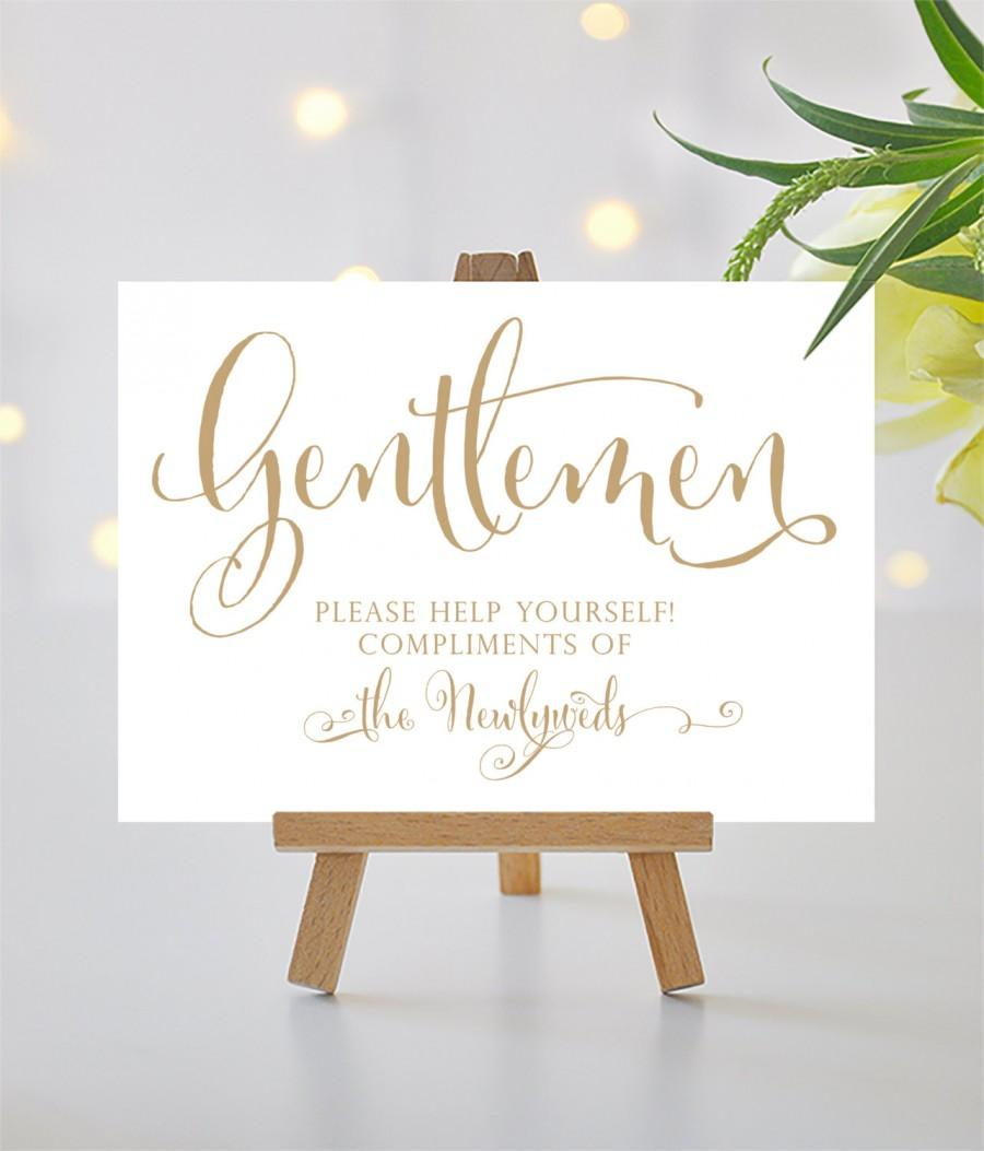 Printable bathroom sign - Gentlemen Wedding Bathroom Sign 5x7 Sign Printable Sign In Bella Antique Gold Pdf And Jpg Files Instant Download