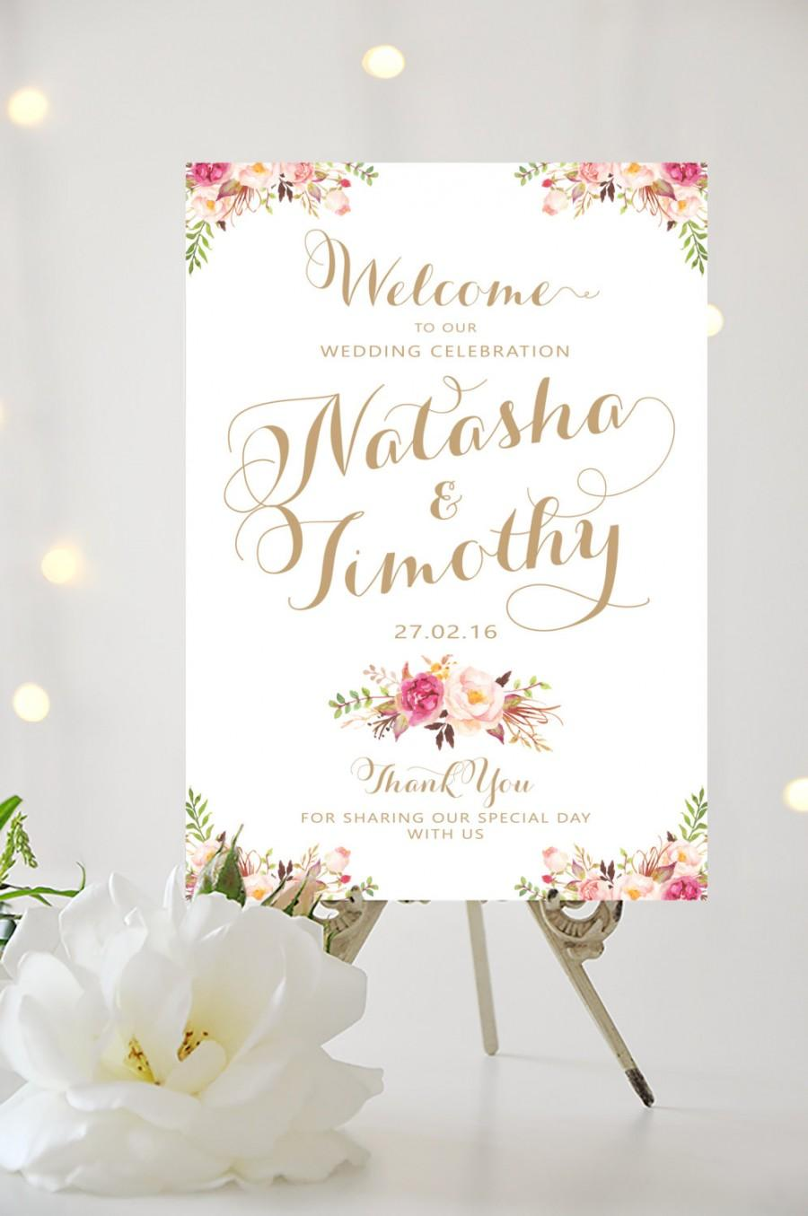 Hochzeit - Wedding Welcome Sign - Large Wedding Poster - Romantic Blooms - Vintage Gold Script - Personalized - I Create and You Print