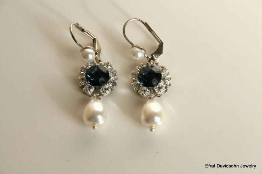 Blue Sapphire Silver Crystal Drop Earrings Drop Pearl Blue Sapphire