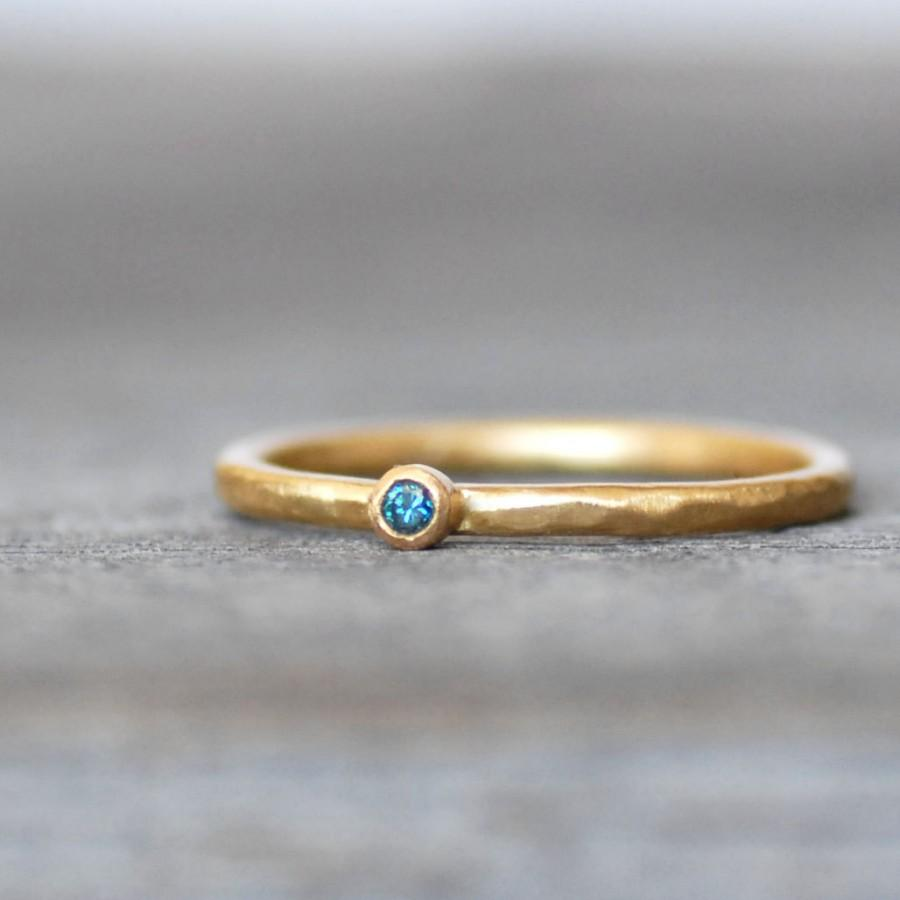Tiny Blue Diamond Ring Blue Diamond Gold Wedding Band Choose 14k