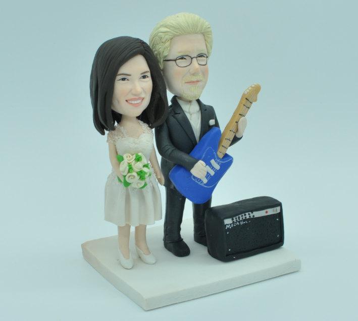 Свадьба - Bride & Groom with Guitar and Marshall Amp Custom  Music Theme Wedding Cake Topper