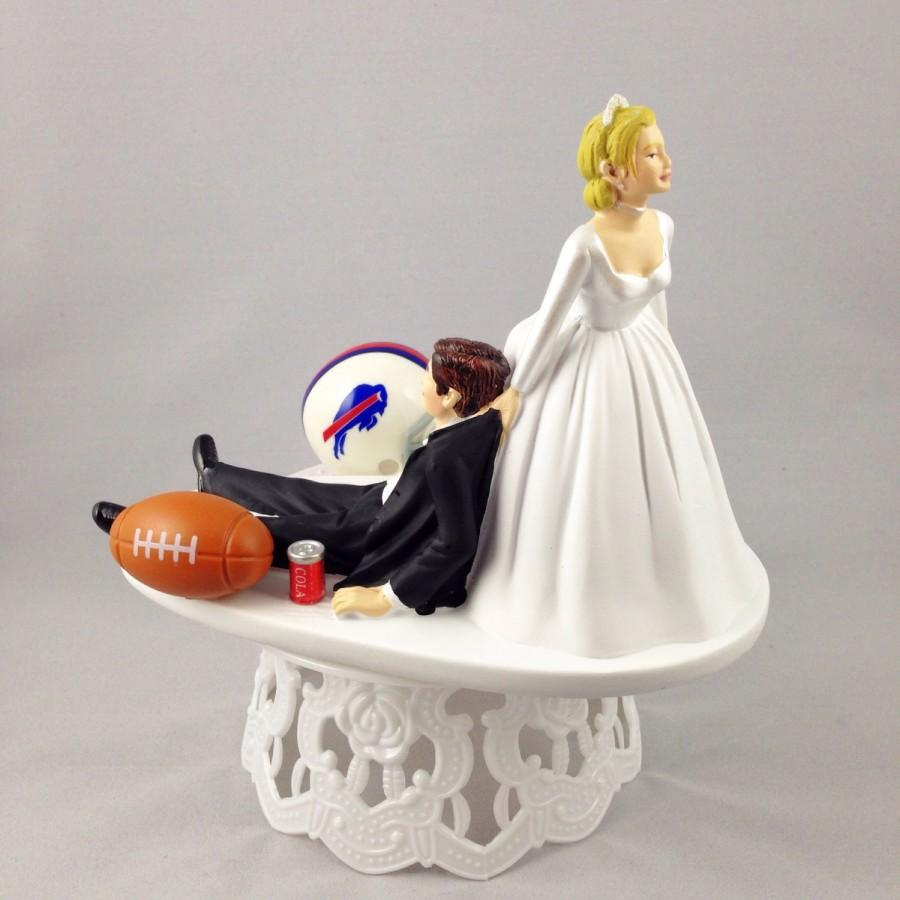 Hochzeit - Funny Wedding Cake Topper Football Themed Buffalo Bills Unique and Humorous Cake Toppers - Perfect Handmade Groom's Cake Topper