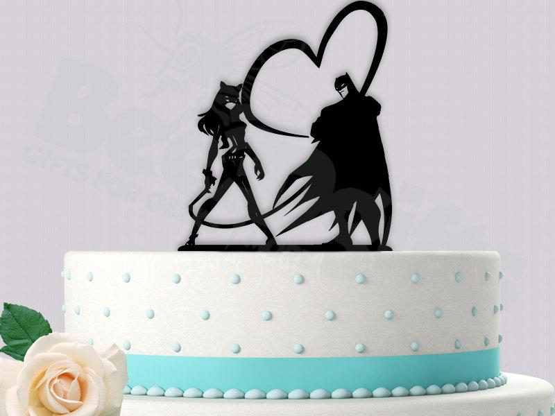 Hochzeit - Batman and Cat Woman Whips of Love Cake Topper
