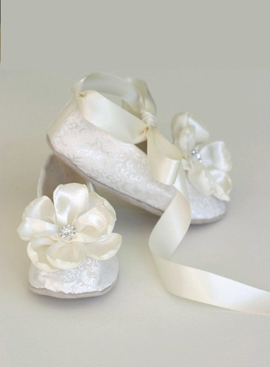 Ivory Brocade Toddler Flower Girl Shoe Flower Girl Wedding Ballet
