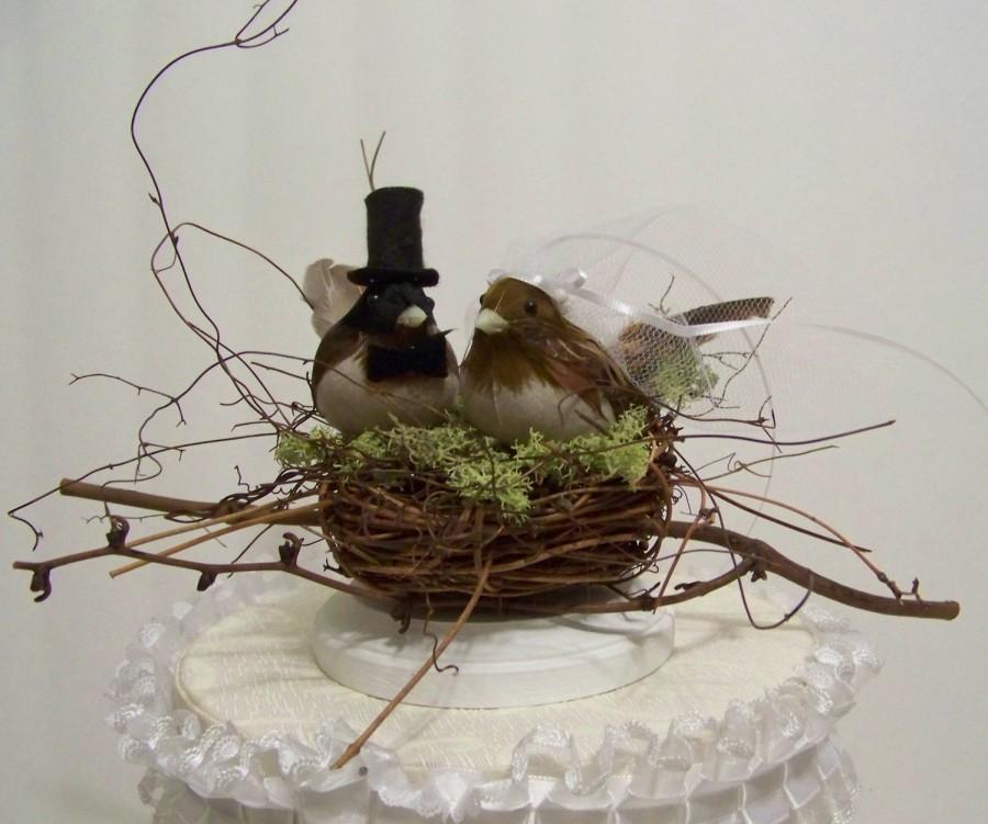 زفاف - Wedding Cake Topper-Black Cap Chickadees and Twig Nest- bird cake topper