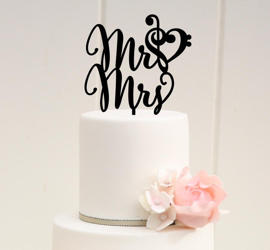 Wedding - Mr and Mrs Wedding Cake Topper with Music Note Heart - Treble and Bass Clef Heart Custom Cake Topper