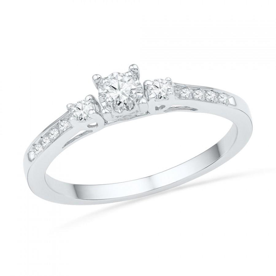 10k white gold diamond engagement ring, three stone diamond ring