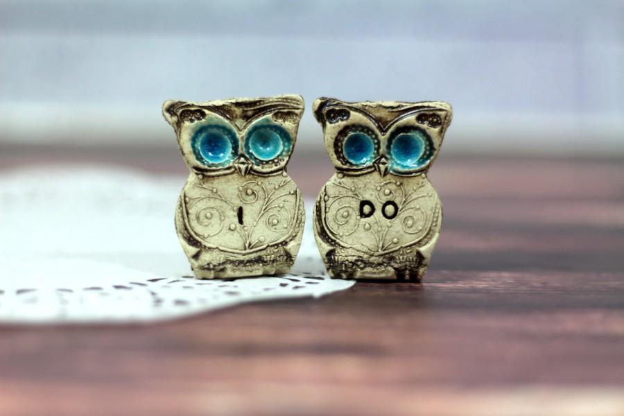 Wedding - Owls Wedding cake topper - a pair of I DO owls Cute cake topper