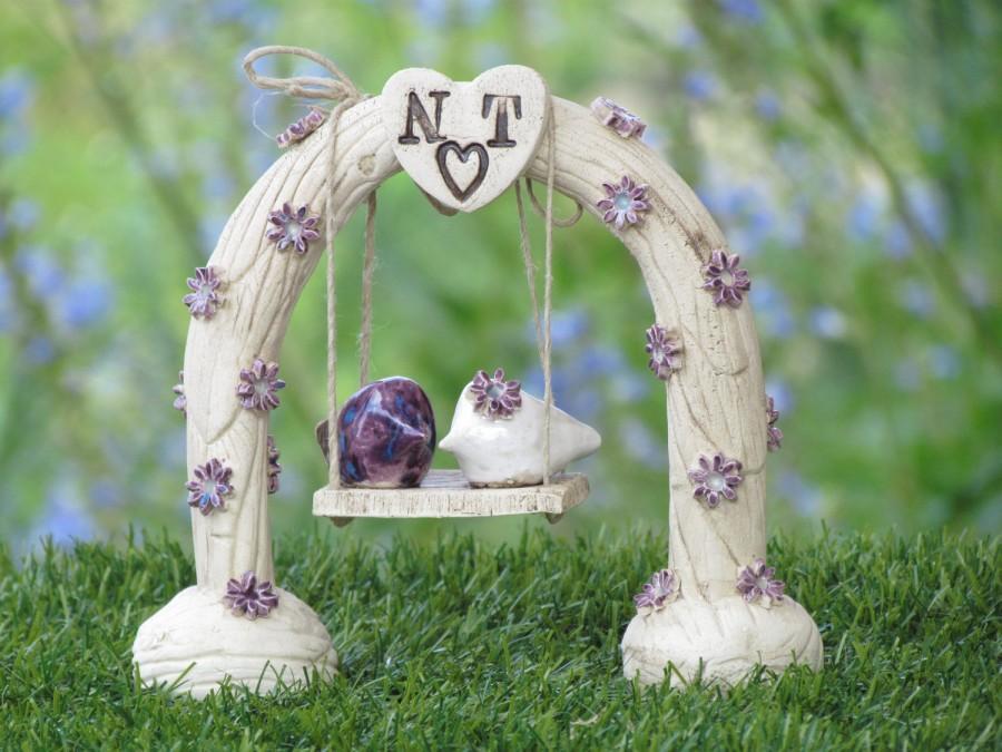 Mariage - Custom wedding cake topper Ceremony love birds wedding decoration Swing wedding cake topper