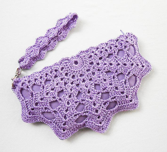 Mariage - Small Purple Clutch Bag - Lavender Purple Crochet Purse - Lace Formal Wristlet Clutch Bag - Purple Wedding Purse - Matching Bridesmaid Gifts