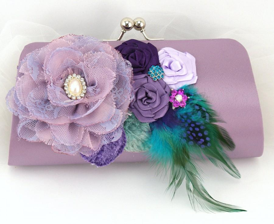 Mariage - Peacock Clutch, Turquoise, Lilac, Purple, Teal, Handbag, Bag, Mother of the Bride, Pearls, Brooch, Feathers, Crystals, Elegant Wedding