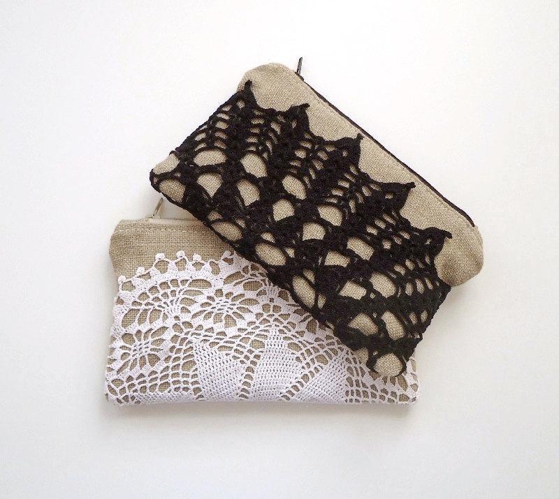 Hochzeit - Black and White Vintage Doily Burlap Clutch Set of 2