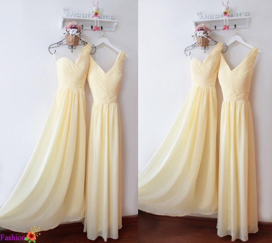 A Line Bridesmaid Dresses Long One Shoulder Dress Chiffon Beach Yellow Prom
