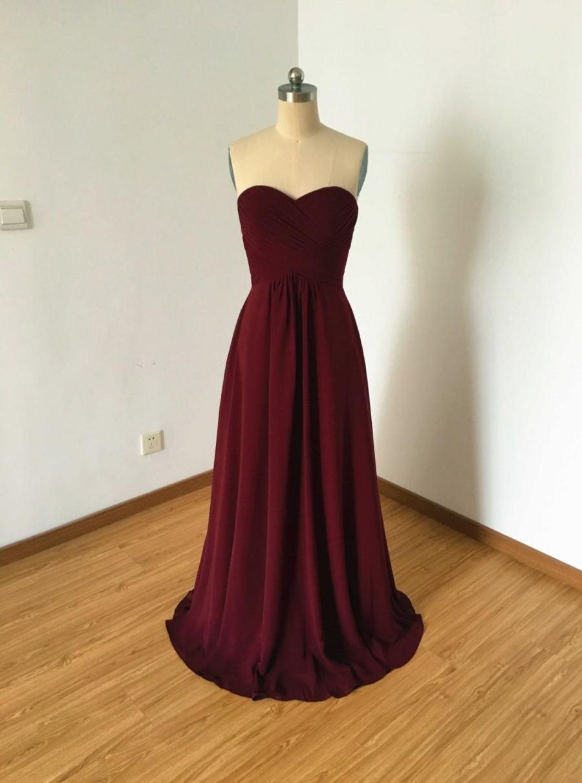 Hochzeit - Sweetheart Burgundy Chiffon Long Bridesmaid Dress