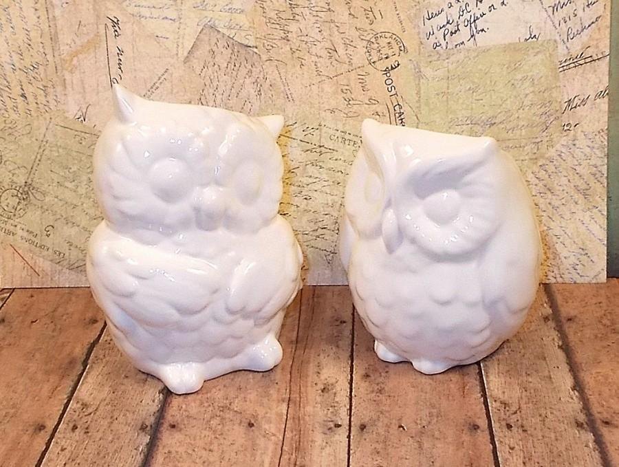 White Ceramic Owl Vases Wedding Cake Topper Large Clic