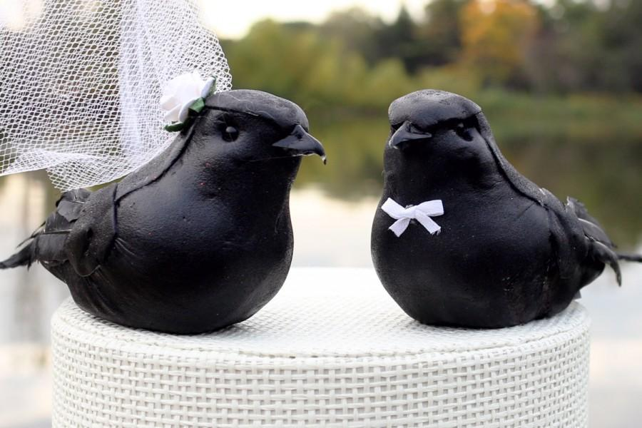 Sale Raven Wedding Cake Topper Bride And Groom Gothic Love