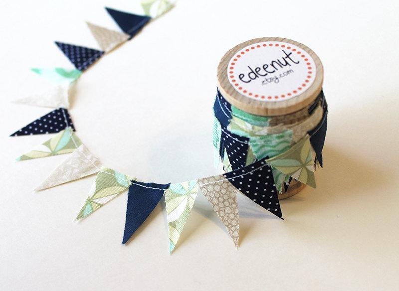 Hochzeit - Beachy bunting in Navy, Tan, and Sea glass Mix. fabric Cake Mini Bunting. Wooden Spool of Ribbon for gift wrapping.