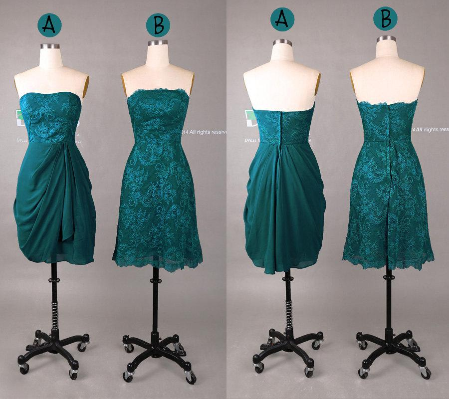 Hochzeit - New Design 2015 Green Sweetheart Lace Short Bridesmaid Dress/Lace Homecoming Dress/Maid of Honor Dress/Wedding Party Dress DH420