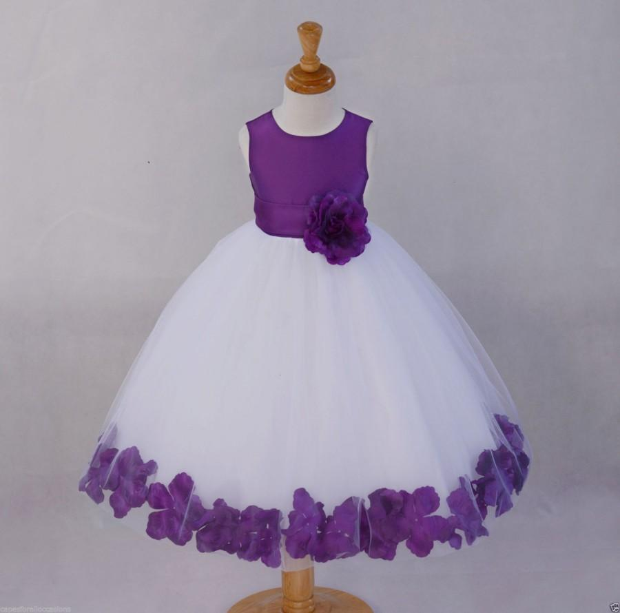 white purple flower girl dress pageant wedding bridal