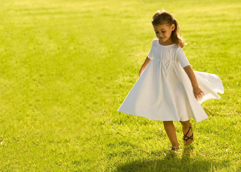 Hochzeit - Wedding Flower Girl Dress White - Bohemian Flower girl - Cotton Flower Girl Dress - Junior Bridesmaid Dress-Bridesmaid Dress