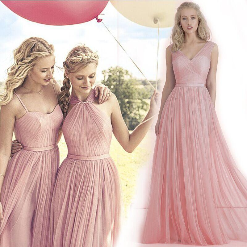 2016 New Blush Pink Flowing A Line Tulle Bridesmaid Dresses ...