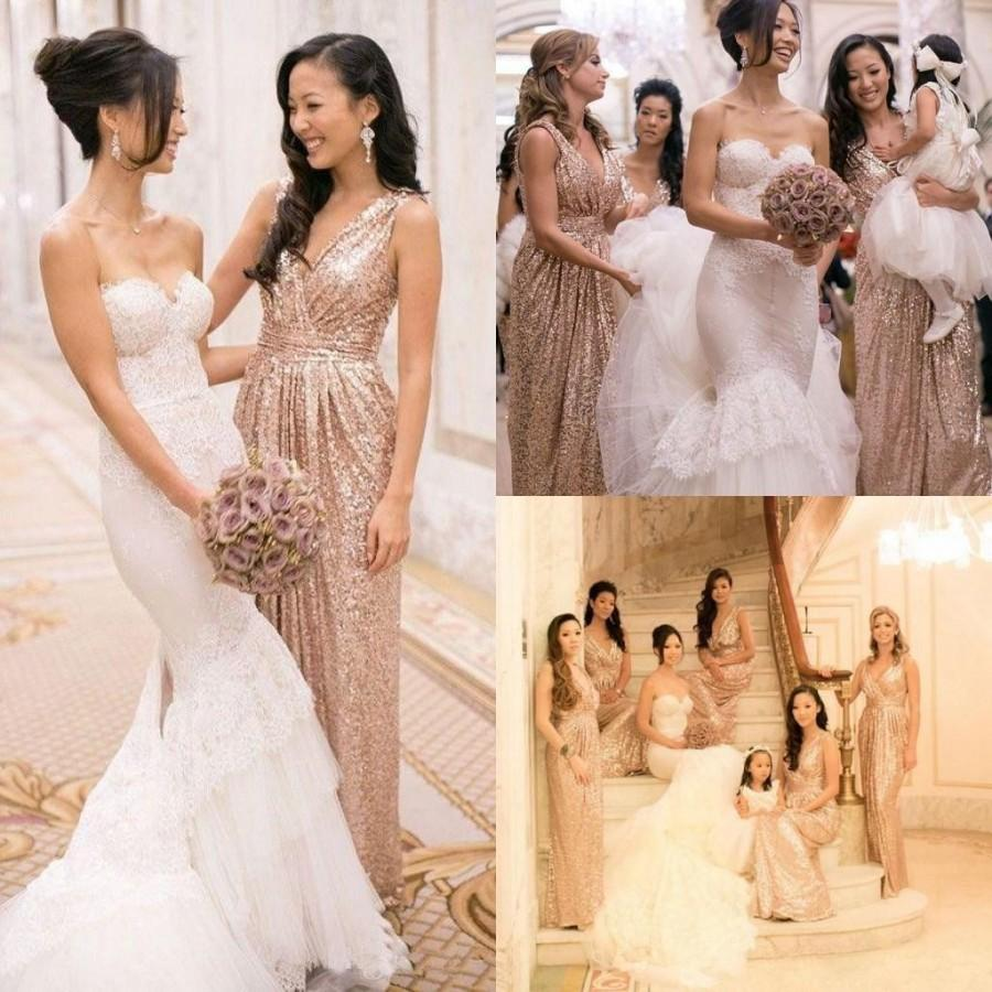 Свадьба - 2015 Rose Gold Cheap Bridesmaid Dress with V Neck Bling Bling Sequins Pleats A Line Maid Of Honor Wedding Party Evening Prom Gowns Online with $80.63/Piece on Hjklp88's Store