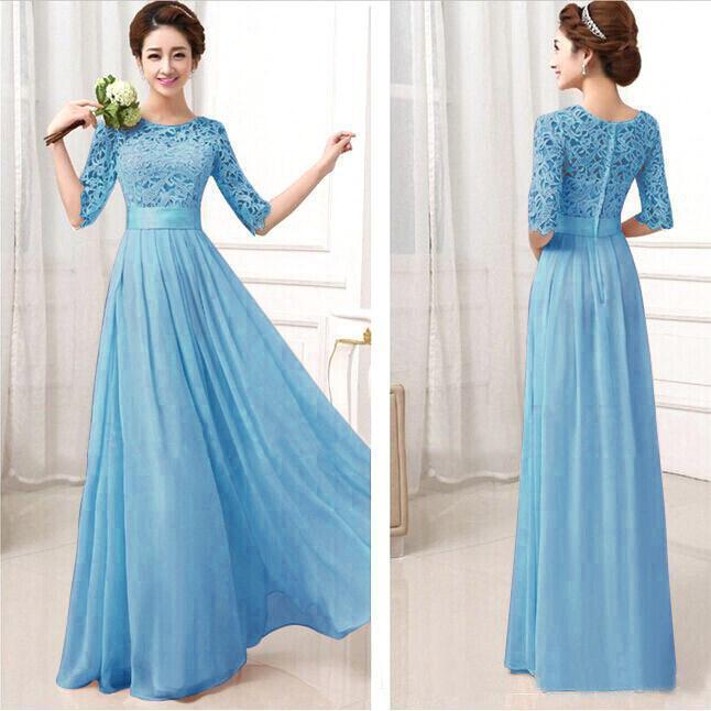 Formal bridesmaid dresses sexy chiffon long maids honor for Royal blue wedding dresses cheap