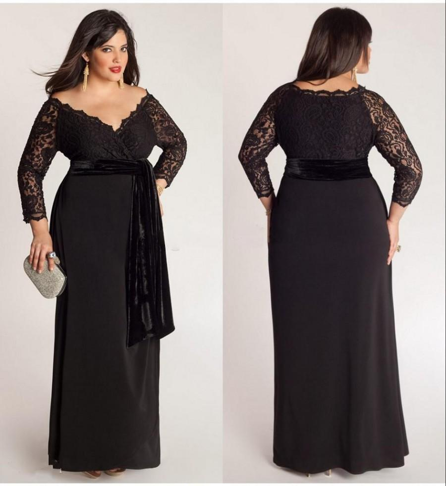 Black Plus Size Lace Long Sleeve Sheath Chiffon Evening Dresses V ...