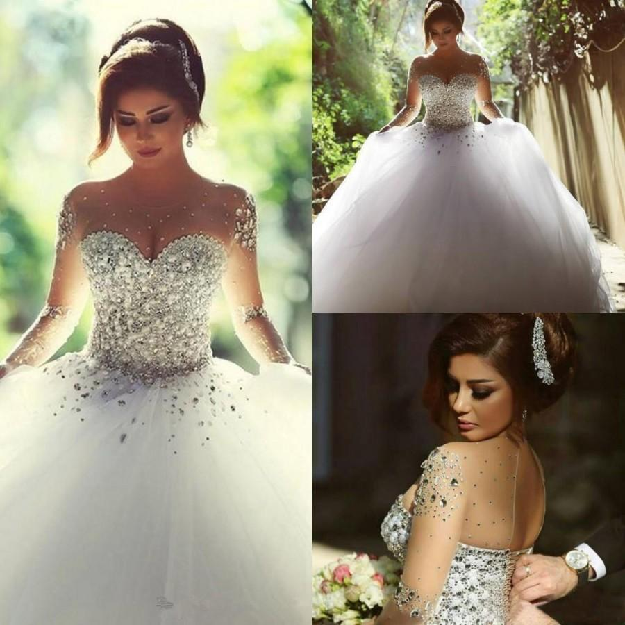 2016 Retro Long Sleeves Wedding Dresses Rhinestones Crystals Backless Ball  Gown Vintage Bridal Gowns Spring Plus Size A Line Said Mhamad Online with  ... 514927d75757