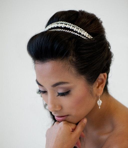 Hochzeit - Bridal Headband, Wedding Tiara, Freshwater Pearl Headband, Wedding Hair Accessory, Triple band Headpiece - MAGGIE