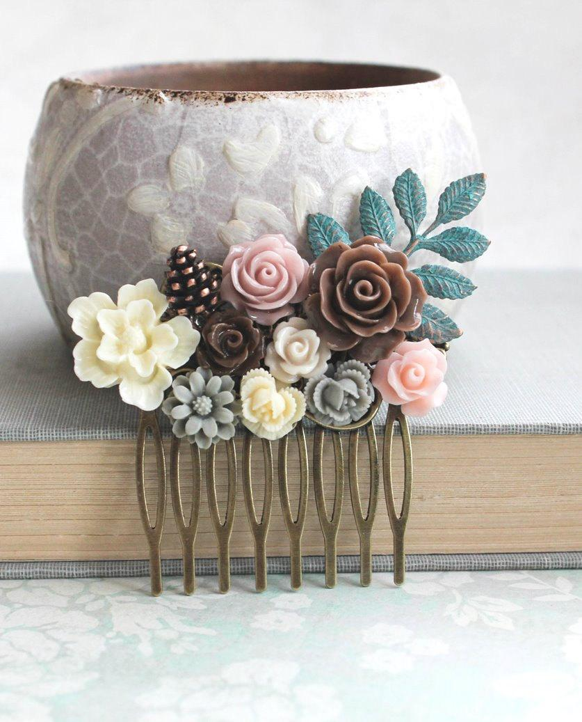 Hochzeit - Woodland Hair Comb Nature Brown Floral Wedding Hair Piece Rustic Patina Branch Autumn Fall Pine cones Ivory Cream Roses Dusty Rose Pink
