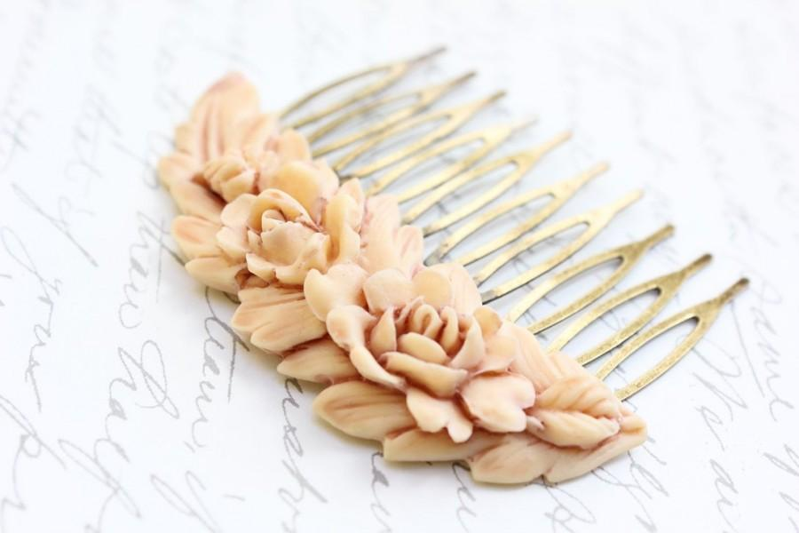 Hochzeit - Rose Hair Comb Ivory Cream Rose Peach Prom Bridal Wedding Spring Floral Vintage Style Shabby Chic Hair Accessories Antique Brass Filigree