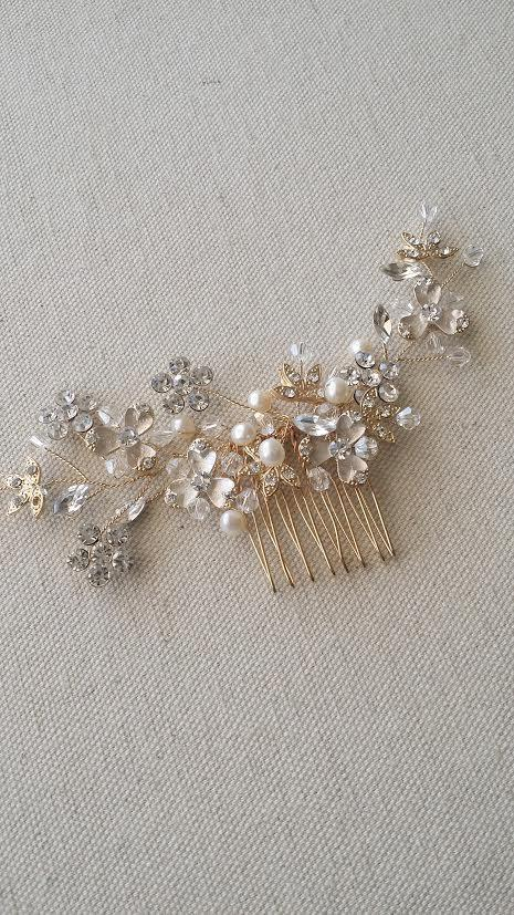 زفاف - Gold Bridal Hair comb, Wedding Headpiece, Rhinestone Hair comb, Wedding Hair Accessory
