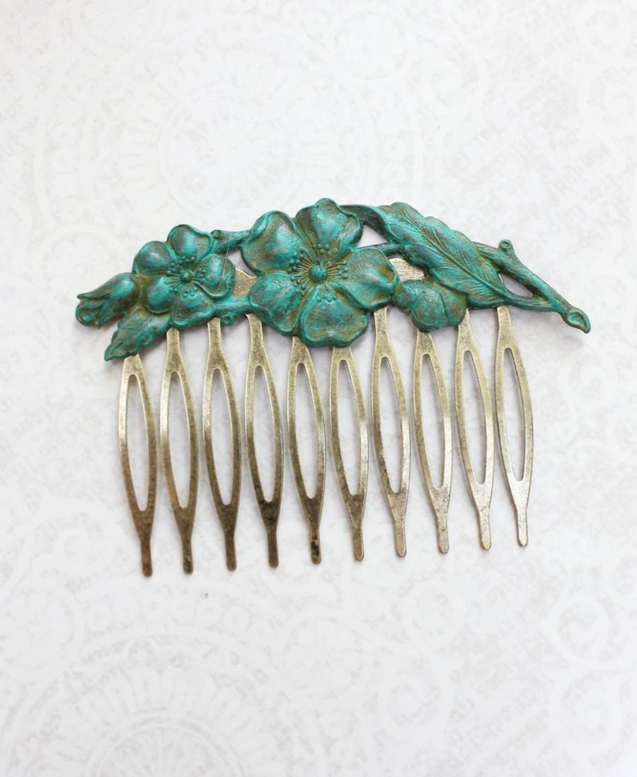 Hochzeit - Patina Flower Comb Verdigris Dogwood Branch Floral Hair Comb Teal Green Garden Hair Accessories Rustic Nature Wood Nyph Pixie Victorian