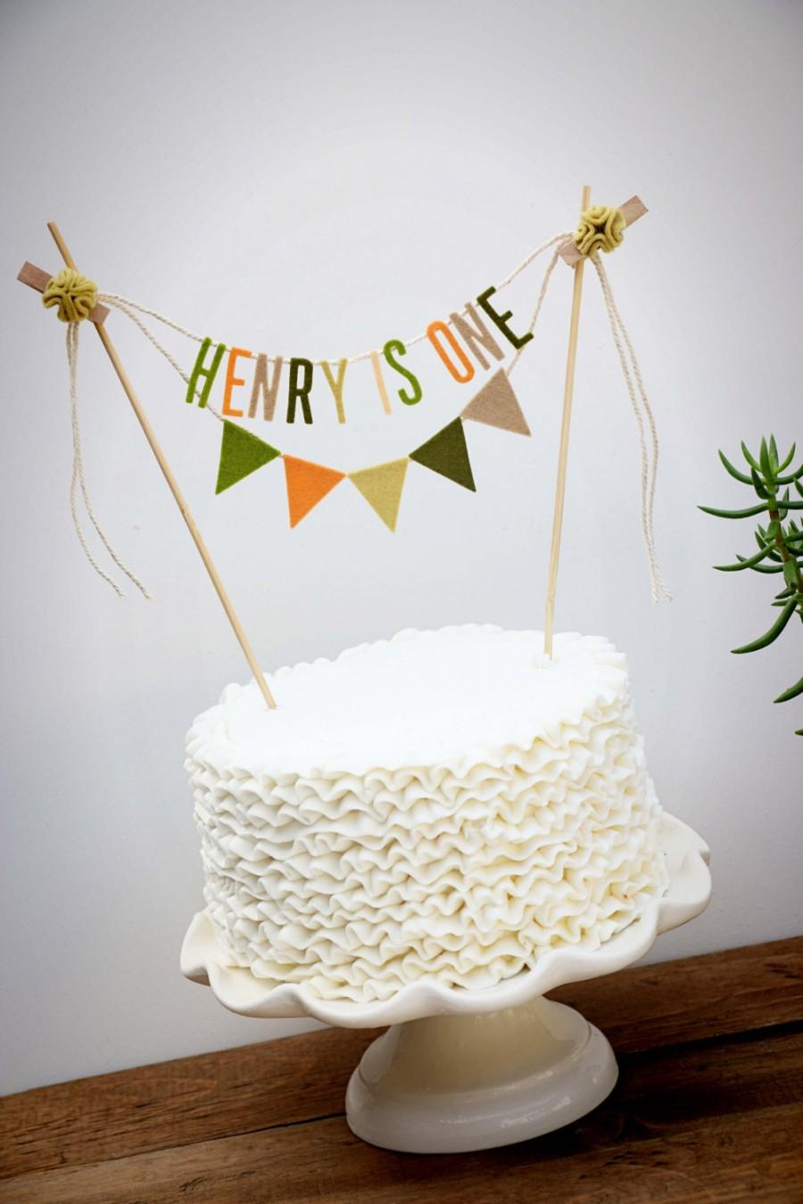 Hochzeit - Personalized Cake Banner, Personalized Cake Topper, Birthday Cake Garland, Birthday Cake Topper, Woodland Cake Garland:  Peach and Moss
