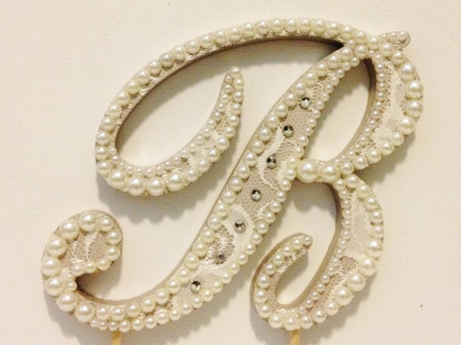 Свадьба - Pearls and Rhinestones Accented Vintage Lace Monogram Cake Topper (Font 5) - Any Letter A B C D E F G H I J K L M N O P Q R S T U V W X Y Z