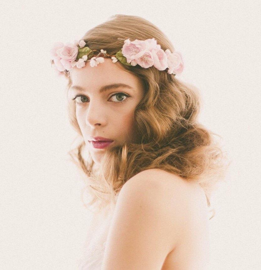 Mariage - Lavender Flower Crown, Purple floral wreath, Bridal hair circlet, Plum wedding headpiece, Woodland wedding crown - ESTELLA