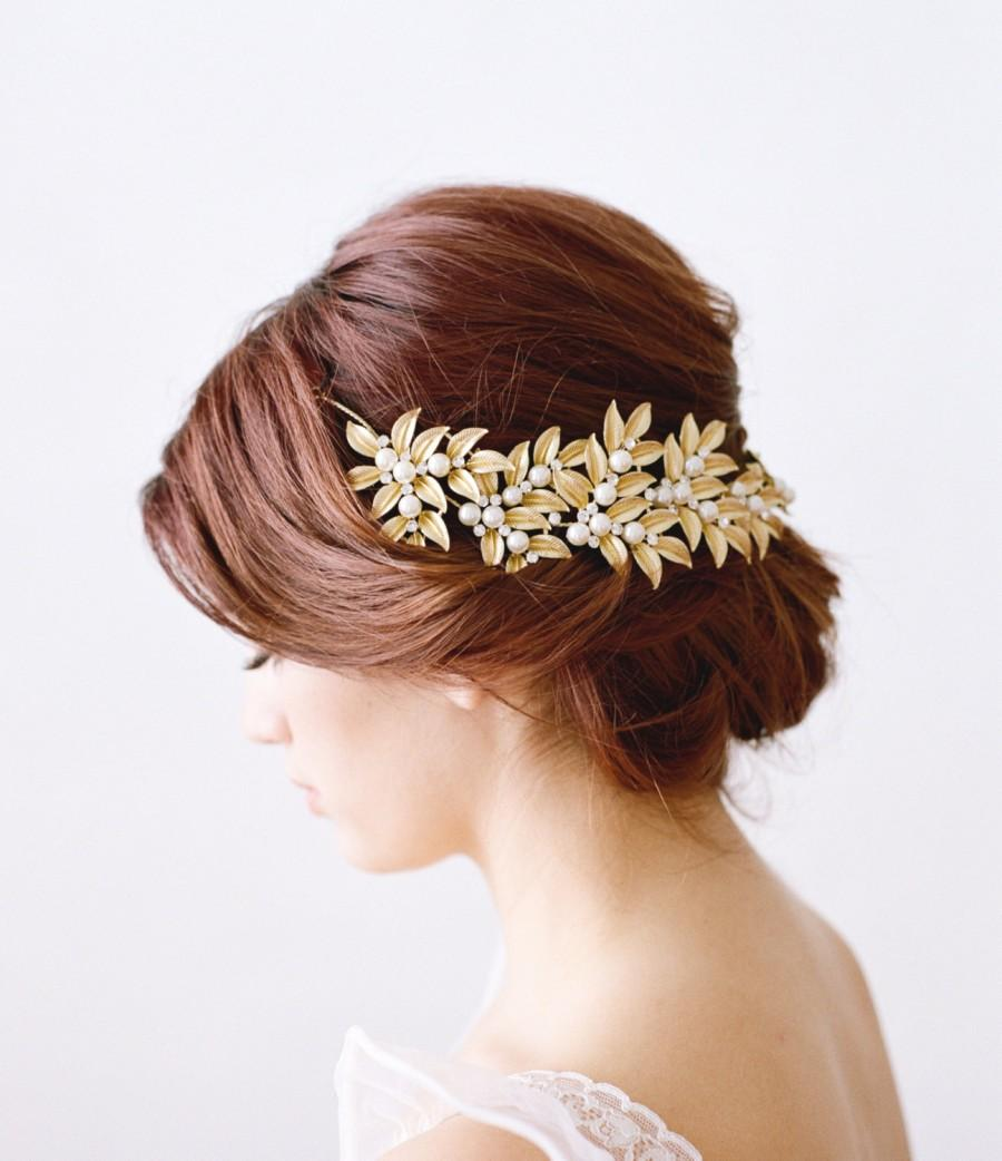 Hochzeit - Gold Bridal Headpiece, ELLWOOD Bridal Leaf Headpiece, Pearl Bridal Headpiece, Gold Leaf Halo, Gold Bridal Pearl Headpiece, Bridal Halo Tiara