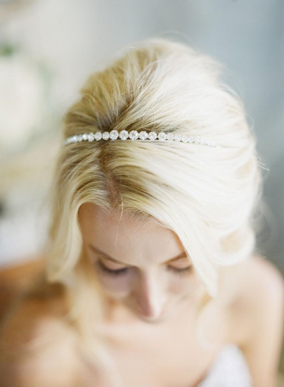 Simple Crystal Bridal Headband, Thin Tiara Headband, Swarovski ...