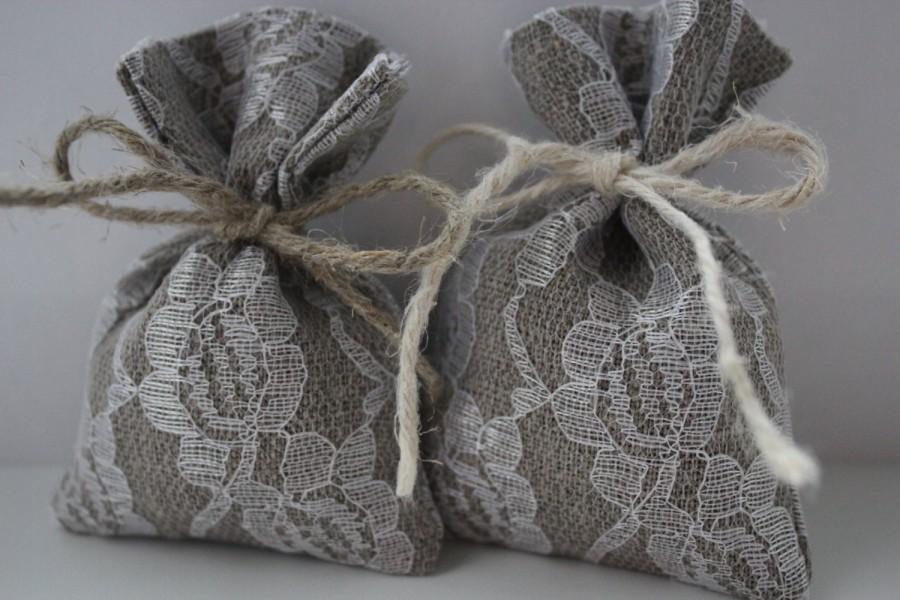Set Of 10 Wedding Favor Bags Grey Linen Lace Bag 3 X 4