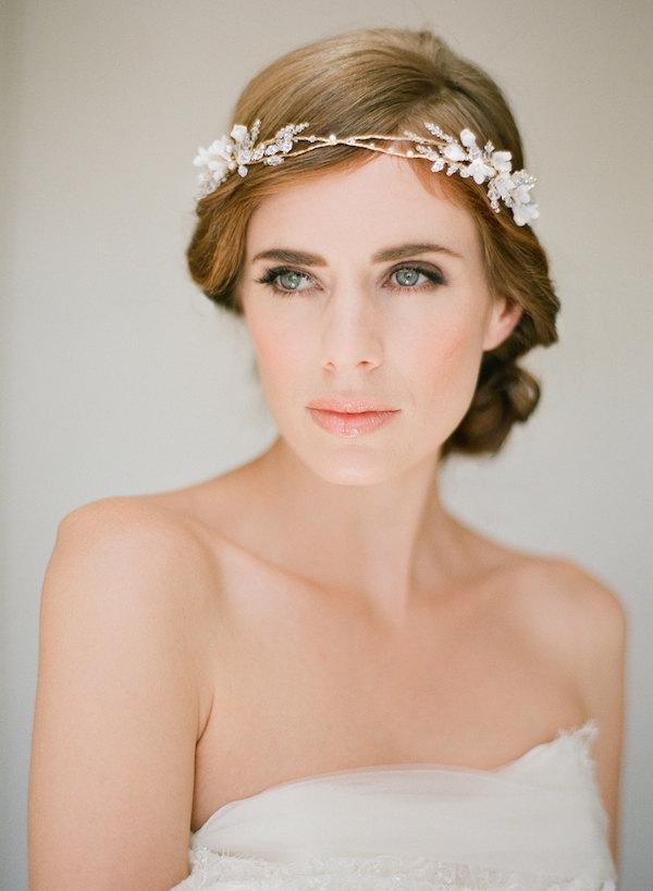 Mariage - FLORENCE gold bridal crown, wedding flower halo