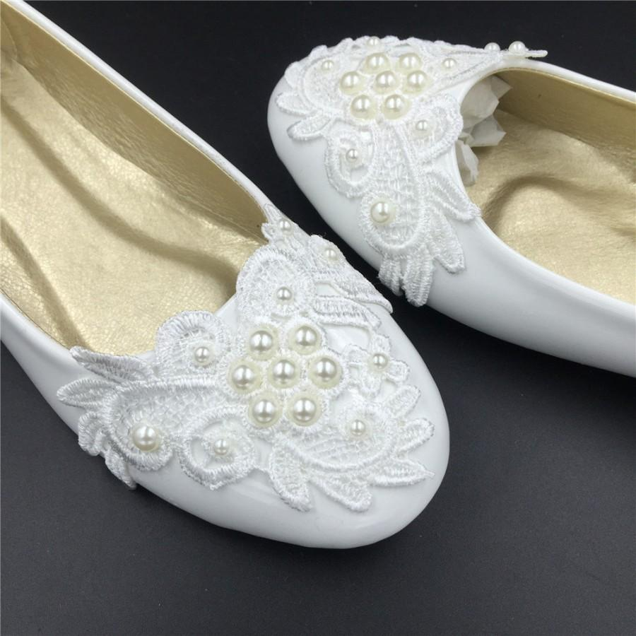 Ivory White Vintage Lace Wedding Shoes,Pearls Bridal Ballet Shoes ...