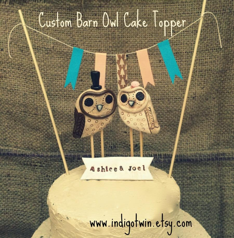 Свадьба - Barn Owls Wedding cake topper with neutral accents for your Rustic Wedding Made to Order