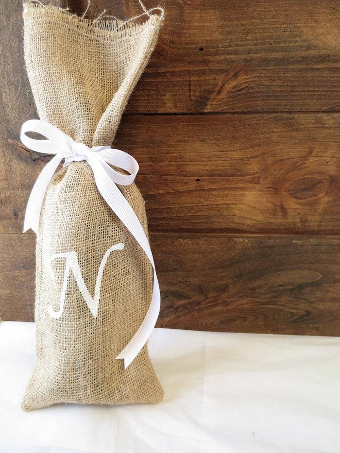 Custom Monogram Burlap Gift Bag Personalized Wine Gift Bag Wine